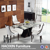 Stylish design square shaped designer white solid surface/artificial marble 6 seats dining table