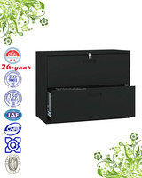 lateral 2-drawer filing cabinet with plastic recessed handle, ball-bearing suspension slide, link-rod lock
