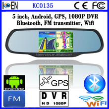 CE RoHS 1080P DVR FM Wifi 5.0 Inch Screen Rearview Mirror Car Monitor Android