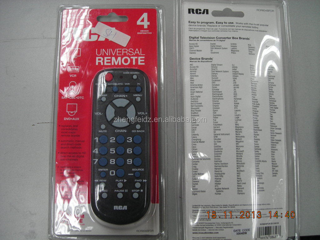 4 In 1 Universal Remote Control Rca Rcr804bfdrrcr804br Series Tv