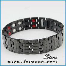Wholesale hot sale germanium and tourmaline engraved 4 in 1 bio magnetic titanium bracelet