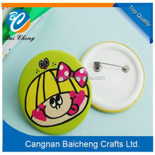 2015 fashion design for newest metal button badge with logo printing/paper printing/stamping on it supplies top quality for sale