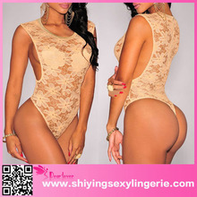 Hot Selling 2015 Brown Floral Lace sexy babydoll lingerie xxl 2015 sex xxl open crotch bodysuit