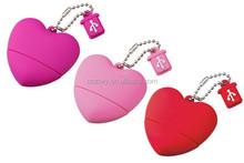 hot sales pen drive heart shape usb flash drive pvc usb disk memory with full color