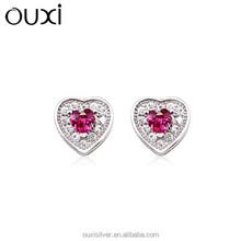 OUXI purplish red zircon fashion diamond jewelry, stainless silver jewelry stud earrings Y20232