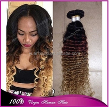 Best 7a quality 1b/33/27# peruvian virgin human hair ombre curly 3 tone hair weaves