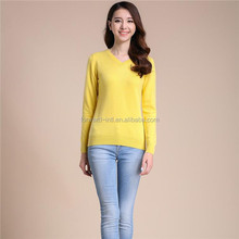 hot sale classic style women soft cashmere v neck pullover