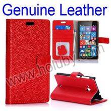 Flip Case Cover for Nokia Lumia 535, Wallet Magnetic Stand PC+Genuine Leather Phone Case Cover for Microsoft Lumia 535 Case