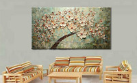 100% Hand-painted modern home decor wall art picture khaki white cherry blossom tree thick palette knife oil painting on canvas