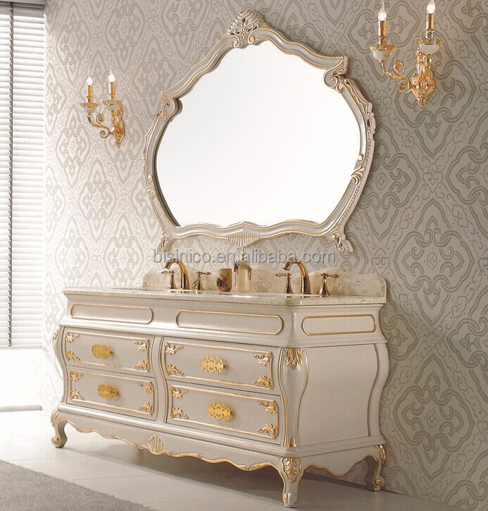 Vintage Wood Carved Bathroom Vanity With Double SinksVictorian - Victorian style bathroom cabinets
