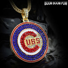 MLB Chicago Cubs Iced out Bling Enamel Hip Hop Mens Jewelry Necklace Pendant with Franco Korea Brass Chain