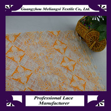 Beautiful voile lace fabric orange, african lace fabric for dress