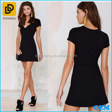 Top Level Cap Sleeves V-neckline Medium Weight Black Knit Fit-and-flare Dress