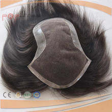 Poly Edge Lace Front Dark Brown Color Peirmeter Under Vent Technology Human Hair Piece Toupee For Men