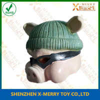 X-MERRY Wearing black patch and Green Hat Lovely Pig Ainimal Mask Cute Face Latex Mask Fancy Dress Party Decoration