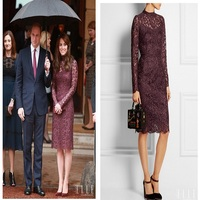 2015 Catherine Burgundy Lace Elegant Long Sleeve Evening Dresses, Ankle Length Evening Dresses With Sleeves