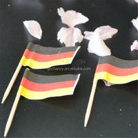 50Pcs/Bag Paper Wood Food Decor German Flag Picks Bread Party Cake Decorative Toothpicks DIY Cupcake Accessory