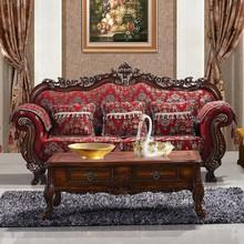 Timber Wood Frame Fabric 3+2+1 Sofa Set Chinese Living Room Furniture