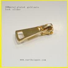 Métal de qualité plaqué or verrouillage automatique curseur à glissière