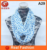 wholesale blue and white jersey greek key infinity scarf loop scarf A29