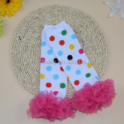 colorful clown dots with hot pink chiffon leg warmers for baby girls