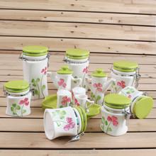 Customized flower design ceramic storage jar