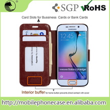 2015 New Products Alibaba China Bulk Cell Phone Case For Samsung S6 Edge Leather Wallet Flip Case