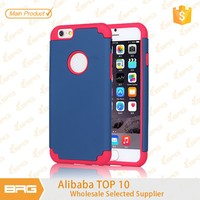 BRG 2015 Unique PC TPU Mobile Phone With Stand 2 in 1 Soft Gel TPU + PC Phone Case Back Cover For iPhone 6