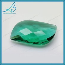 Fancy cutting green color glass stones for jewelry making
