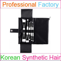 5pcs synthetic hair china makeup brush with hot selling cosmetic brush set black