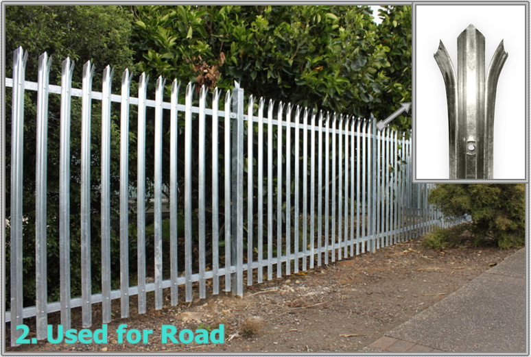 Triple pointed and splayed steel palisade fence and gate 8.png