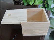 natural unfinished wooden box with slide lid hot sale