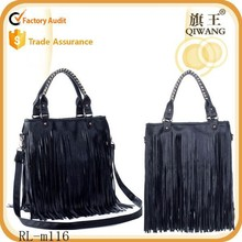 2015 Women's nice custom PU tote bag fringes bag wholesale