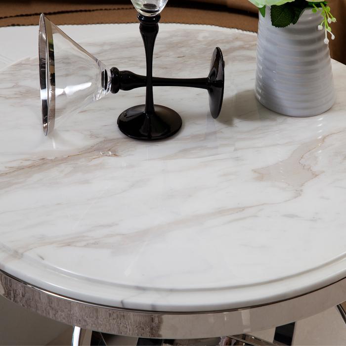 연마 스테인리스 스틸 대리석 상단 커피 테이블 현대적인 거실 ...
