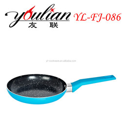 Aluminum marble coating Fry pan silicone handle
