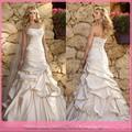 D240 um- linha do ombro de atadura de casamento vestido de renda e cetim plissado cor champanhe vestidos de noiva