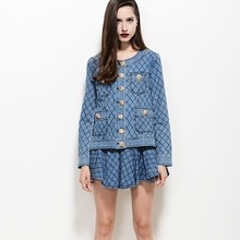 2015 New fashional casual style washed cotton denim jacket with check skirt suits