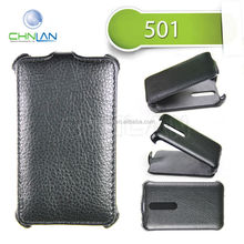2014 New Arrival Elegant Business Style Thermoforming Leather Flip Case for Nokia Asha 501 With Microfiber