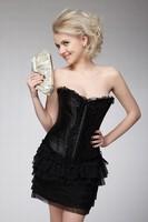 2015High quality Factory Wholesale Black Satin sex xxl photo corset for women