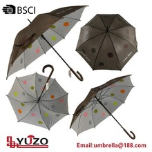 double layer auto open wooden shaft umbrella wooden curved handle