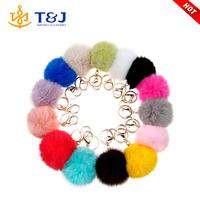 Hot Sale New Design 14 colors Rabbit Fur Ball Fancy Keychain