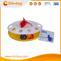 Chi-buy High Quality Plastic Yellow Cat Toy, Play Base with Balls Cat toys Free Shipping on order 49usd