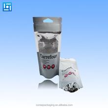 resealable sliver plastic aluminum foil ziplock bag packaging/plastic stand up zipper bags/reusable aluminum foil bag