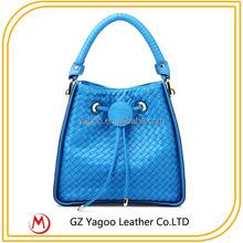 Sky Blue Woven PU Cheap Bucket Bag