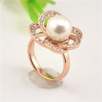 Mother Day Gift Ideas STOCK Factory Selling Fashion Jewelry Elegant Women Freshwater Pearl Ring, Gold Ring