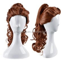 Belle COS wig New vogue sexy women's long Brown Cosplay Anime Curly wigs