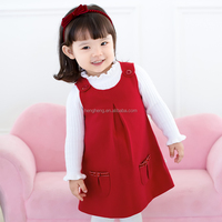 80284 ready made garments stock lot red children dress children skirt with polyester material