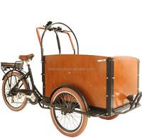 three wheel electric cargo bike pedal assisted road bike bakfiet