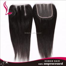 hot selling top grade 7A virgin peruvian hair natural color 4*4size silky straight wave cheap human hair lace closure