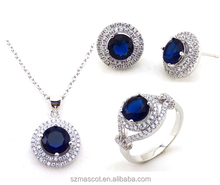 Vintage Fancy! Bridal Jewelry Set Natural Diamond Dark Blue Jewelry Set In Rhodium Pendant Jewelry Set